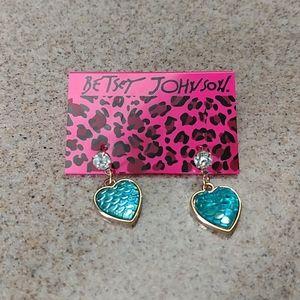 Betsey Johnson Mermaid Heart Pierced Earrings NEW